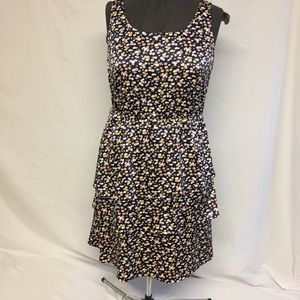 The Limited Navy Floral Bottom Tiered Dress Sz 14
